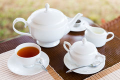 Close up of tea service at restaurant or teahouse Stock Photography