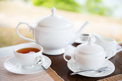Close up of tea service at restaurant or teahouse Royalty Free Stock Photography