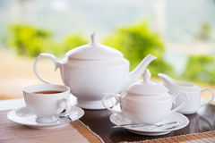 Close up of tea service at restaurant or teahouse Royalty Free Stock Photo