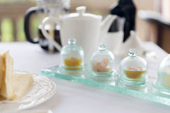 Close up of tea time set with jam on table Royalty Free Stock Image