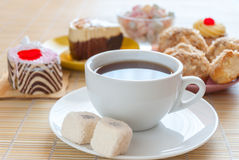 Close up tea and various tasty dessert Stock Image