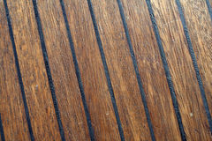 Close-up of teak boat deck Royalty Free Stock Photos