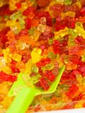 Close up of teddy bears jelly beans. Close up of shop box with many colorful teddy bears jelly beans sweets. Sugar food, desserts concept royalty free stock photography
