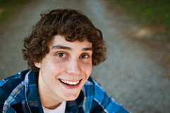 Close up of a teen boy. Handsome teen boy close up smiling Stock Photography