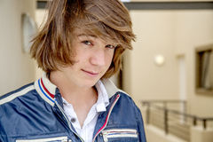 Close up of teen boy. With long hair Royalty Free Stock Photo