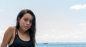 Close up of teen girl at the beach stock photography