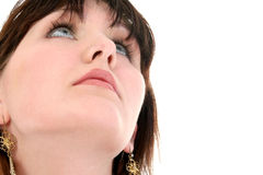 Close Up of Teen Girl Looking Up Stock Photo