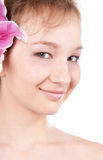 Close-up of  teenage girl with lily flower Stock Image