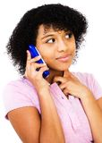 Close-up of teenage girl talking on mobile Royalty Free Stock Images