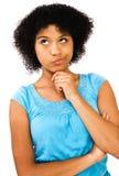 Close-up of teenage girl thinking Royalty Free Stock Photos