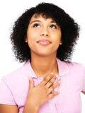Close-up of teenage girl thinking Stock Photo