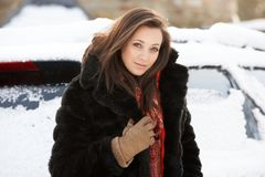Close Up Of Teenage Girl Wearing Fur Coat Royalty Free Stock Photos