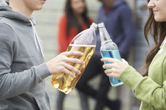 Close Up Of Teenage Group Drinking Alcohol Together. Teenage Group Drinking Alcohol Together Royalty Free Stock Photo