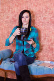 Close up on a Teenager Drinking Coffee Royalty Free Stock Photography