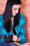 Close up on a Teenager Drinking Coffee Stock Photo