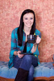 Close up on a Teenager Drinking Coffee Stock Photos