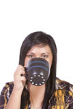 Close up on a Teenager Drinking Coffee Stock Images