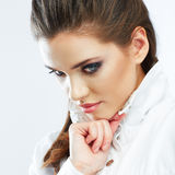 Close up teenager style portrait. Girl on white ba Stock Images
