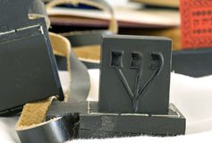 Close-up tefillin. Macro one side of the old used up antique close-up of black Tefillin or tfillin or phylacteries are small boxes containing sacred torah verses stock image