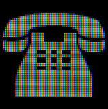 Close-up of a telephone symbol. On a computer screen stock illustration