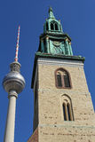 Close up of Television tower and St. Mary's Church in Berlin, Germany Royalty Free Stock Photography