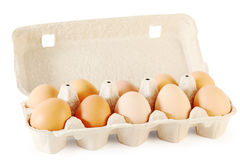 Close up of ten brown eggs in cardboard container Stock Image