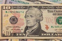 Close up of a ten dollar bill. Background of dollar bills. American Dollars Cash Money. ten Bucks. Alexander Hamilton portrait royalty free stock photos