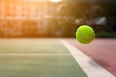 Close up tennis ball on the courts background royalty free stock photography