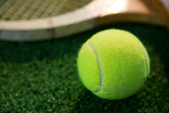Close up of tennis ball with racket Stock Images