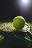 Close up of tennis ball with racket Stock Photos