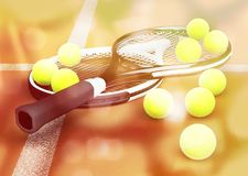 Close-up tennis balls and tennis rackets on clay court stock photos