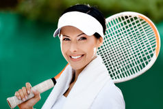 Close up of tennis player Stock Photos