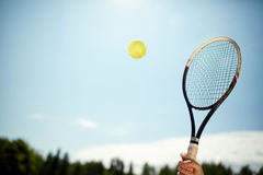Close up of tennis racket and ball Royalty Free Stock Photography