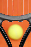 Close-up of a tennis racket. Royalty Free Stock Photos