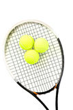 Close-up of tennis racket and balls on white background royalty free stock images