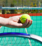 Close up of tennis racquet and ball in hands. Of a man Royalty Free Stock Photo