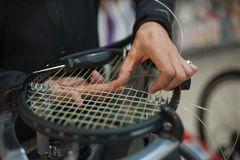 Close up of tennis stringer hands doing racket stringing. Stringing Machine. Close up of tennis stringer hands doing racket stringing in his workshop Royalty Free Stock Photos