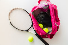 Close up of tennis stuff and female sports bag Stock Image