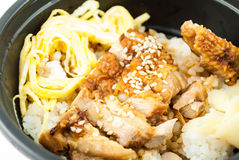 Close up of Teriyaki chicken rice in bowl Royalty Free Stock Images