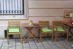 Close up Terrace Table Downtown of Bratislava in Slovakia royalty free stock images