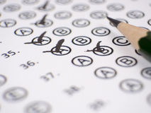 Close up test answer sheet Royalty Free Stock Photo