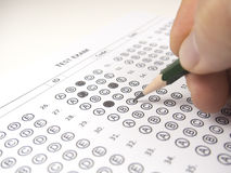Close up test answer sheet. For exam Stock Photo