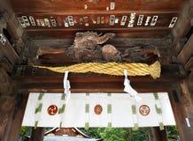 Close up, teto da porta do santuário de Himure Hachiman, OMI-Hachiman, Japa Foto de Stock