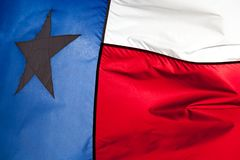 Close up of Texas flag waving in the wind royalty free stock photo