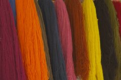 Close-up textile yarns alpaca Royalty Free Stock Images