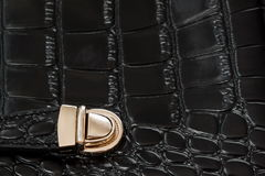 Close-up texture of black handbag from genuine leather with embossed under the skin of reptile, gold lock. For Stock Photo