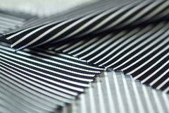 Close up texture fabric black line and white of shirt. Photo shoot by depth of field for object Royalty Free Stock Photo