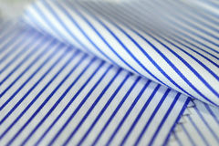 Close up texture fabric thin blue line and white of shirt Royalty Free Stock Images
