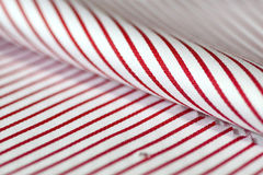 Close up texture fabric thin red line and white of shirt Royalty Free Stock Photo
