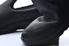 Close up texture healthy leather shoes on wh Royalty Free Stock Images